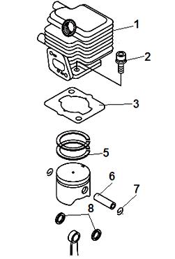 Замена поршневой группы бензокосы Echo SRM-22GES