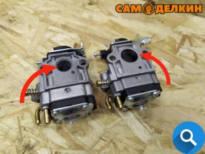 Карбюраторы китайских бензокос - слева для объема двигателя 26 и 33см³, справа для объема двигателя 43 и 52см³. Конструкция одинаковая, разница обозначена на фото. Разбираются одинаково.