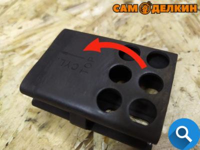 """Затем закрепляем сетку искрогасителя и переднюю часть глушителя (болтами - головкой на 8мм) Обратите внимание на сетке искрогасителя имеется надпись """"ТОР"""" - вверх и стрелка с указанием направления к цилиндру."""