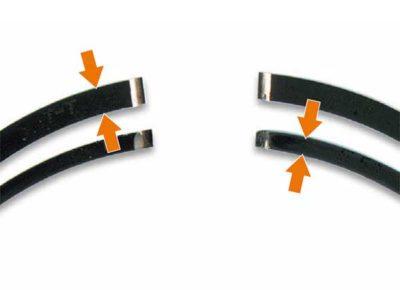Стирание ширины поршневого кольца (сравнение на рисунке)